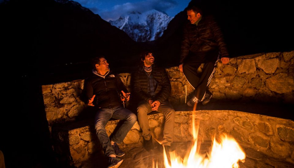 Evening fireside stories at the Salkanaty Lodge