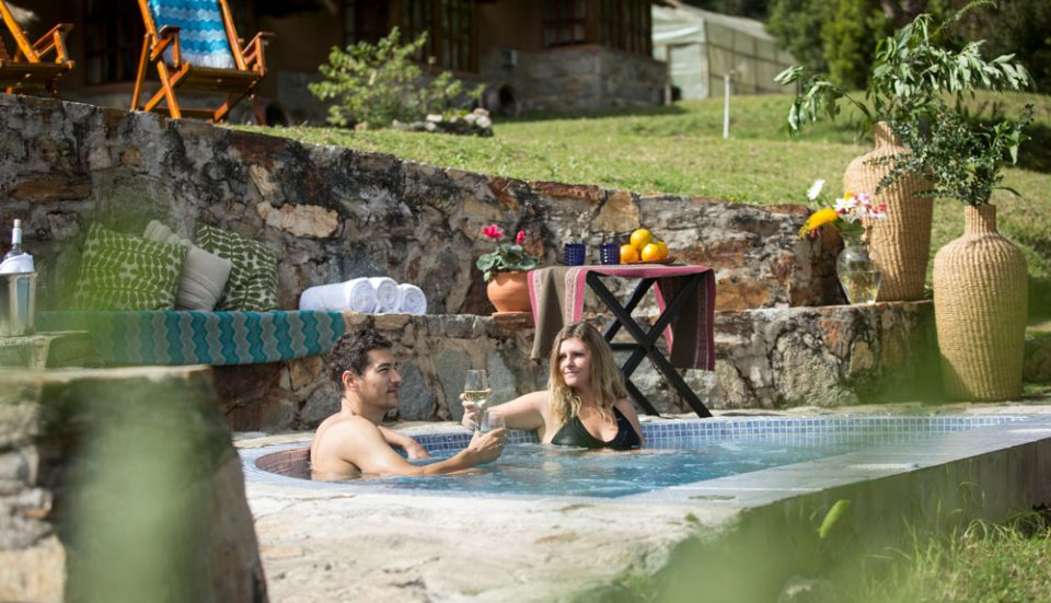 Relaxing in the hot tub on the promontory of the Colpa Lodge