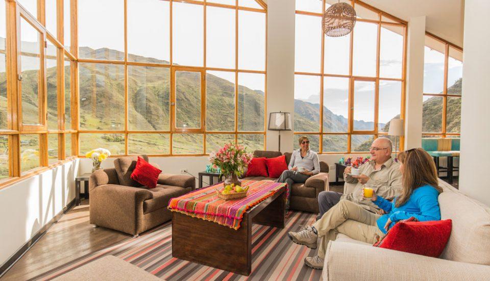 Magnificent views of Huacahuasi during tea time at the Huacahuasi Lodge