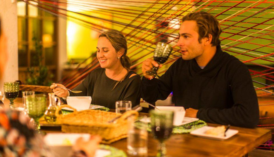 Enjoying fine Andean cuisine at Lamay Lodge