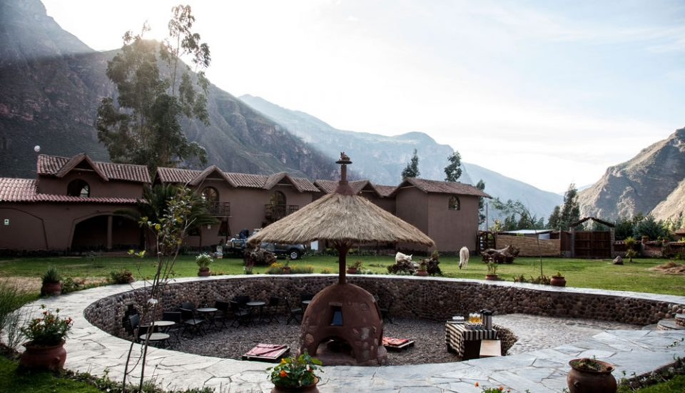 The garden fire pit--a favorite gathering spot at Lamay Lodge